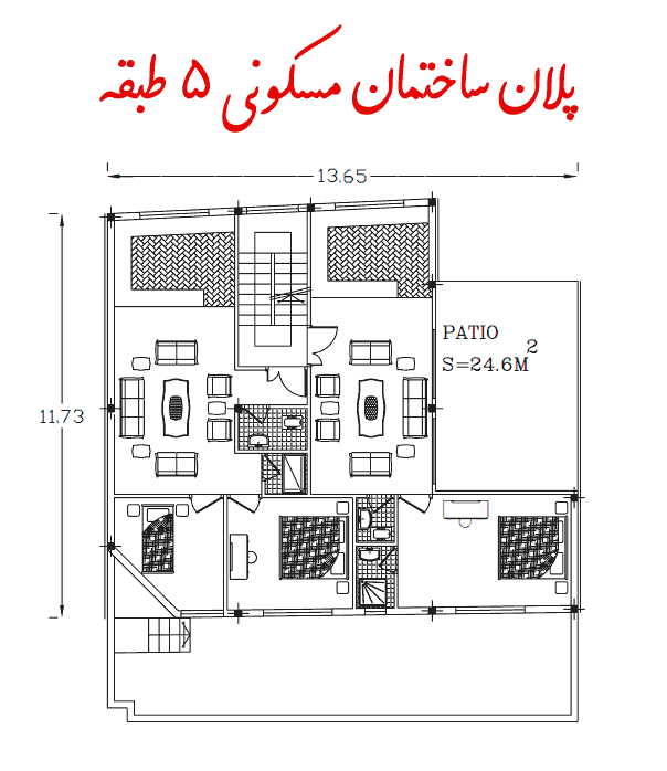 پلان ساختمان مسکونی 5 طبقه (2 خواب)